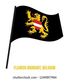 Flemish Brabant Flag Waving Vector Illustration on White Background. Provinces Flags of Belgium.