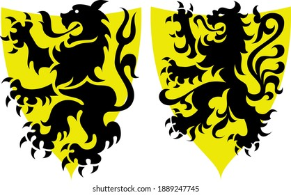 Flemish coat of arms with lion on yellow shield two versions