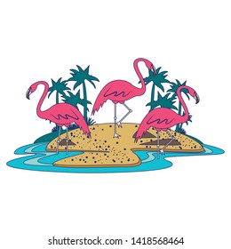 flemish on island with palms icon cartoon isolated vector illustration graphic design