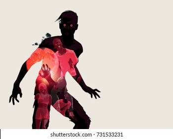 Fleshing eating dead zombie silhouette. Vector illustration