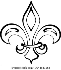 Fleur De Lis Calligraphic, Fleur-De-Lys Or Flower-De-Luce, The Decorative Stylized Lily Vector Art Illustration