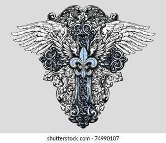 Fleur de lis Cross with Wings