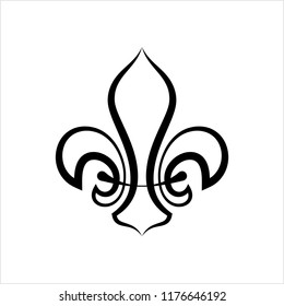 Fleur De Lis, Fleur-De-Lys Or Flower-De-Luce, The Decorative Stylized Lily Vector Art Illustration