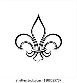 Fleur De Lis, Fleur-De-Lys Or Flower-De-Luce, The Decorative Stylized Lily Vector Art Illustration