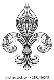 A Fleur De Lis heraldic coat of arms graphic design element