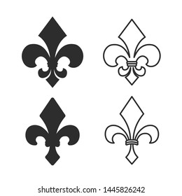 fleur de lis heraldic icon symbol template black color editable. simple logo vector illustration for graphic and web design.