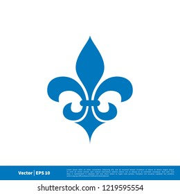 fleur de lis heraldic lily icon vector logo template in blue colour