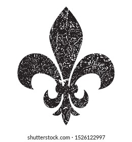 Fleur de lis. Heraldic lily. Mardi Gras Symbol. Grunge background black