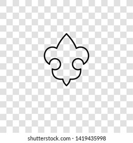 fleur de lis icon from scouts collection for mobile concept and web apps icon. Transparent outline, thin line fleur de lis icon for website design and mobile, app development