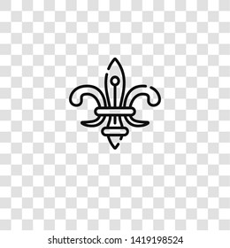 fleur de lis icon from travel collection for mobile concept and web apps icon. Transparent outline, thin line fleur de lis icon for website design and mobile, app development