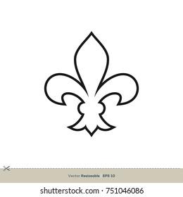 fleur de lis icon vector logo vector de stock libre de regalías