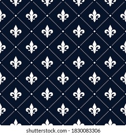 Fleur De Lis luxury dotted pattern. Navy blue and white ornamental background.