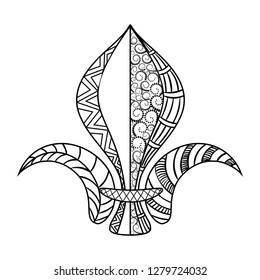 Fleur de lis. Mardi Gras coloring page for adult coloring book. Vector illustration.