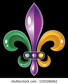 Fleur De Lis Mardi Gras Symbol New Orleans Beads Party