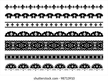 Fleur de lis scalloped vector borders