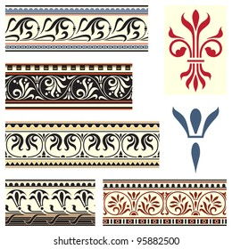 Fleur de lis seamless borders and motifs inspired by medieval design.