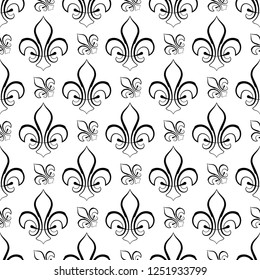 Fleur De Lis Seamless Pattern, Fleur-De-Lys Or Flower-De-Luce, The Decorative Stylized Lily Vector Art Illustration
