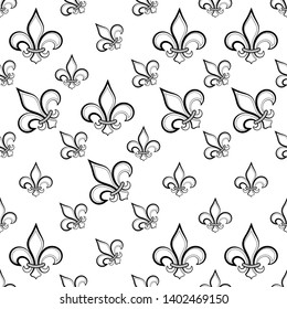 Fleur De Lis Seamless Pattern, Fleur-De-Lys Or Flower-De-Luce, The Decorative Stylized Lily Vector Art Illustration
