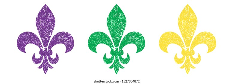 Fleur de lis set. Heraldic lily. Mardi Gras Symbol. Grunge background