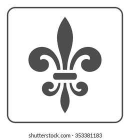 Fleur de Lis symbol. Fleur-de-Lis sign. Royal french lily. Heraldic icon for design, logo or decoration. Elegant flower outline design. Gray element isolated on white background. Vector illustration