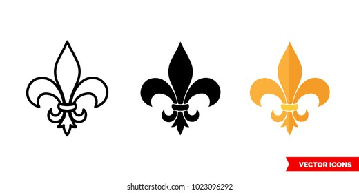 Fleur de lis symbol icon of 3 types: color, black and white, outline. Isolated vector sign symbol.