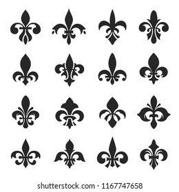 Fleur de lis symbol set. Flower de luce, is a stylized lily, decorative design or floral motif. Vector illustration on white background
