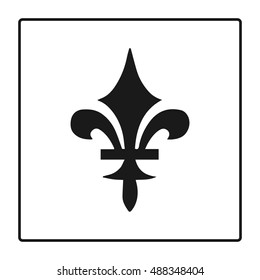 Fleur de lis symbol, silhouette - heraldic symbol. Vector Illustration. Medieval sign. Elegant decoration symbol. Heraldic icon for design, logo or decoration.