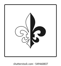 Fleur de lis symbol, silhouette - heraldic symbol. Vector Illustration. Medieval sign. Glowing french fleur de lis royal lily. Elegant decoration symbol. Heraldic icon for design, logo or decoration.