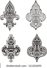 Fleur-de-lis (French Lilies of Bourbons). Set of black and white vector illustrations.