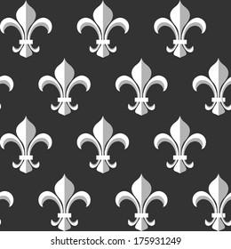 Fleur-de-lis monochrome seamless pattern