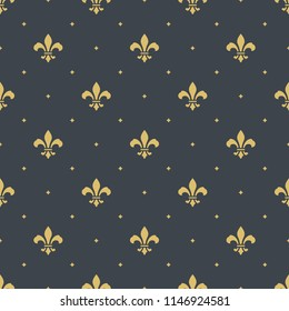fleur-de-lis royal, luxury seamless pattern background. new orlean ornament with diagonal golden heraldic symbol fleur-de-lis and dots. vector illustration