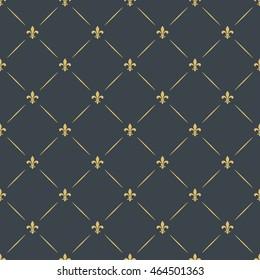 fleur-de-lis royal, luxury seamless pattern background. floral ornament with diagonal golden heraldic symbol fleur-de-lis. vector illustration