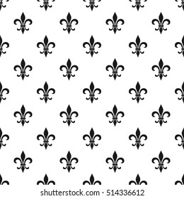 fleur-de-lis seamless pattern. Vector illustration. Black white template. Floral texture. Elegant decoration, royal lily retro background. Design vintage for card, wallpaper, wrapping, textile.
