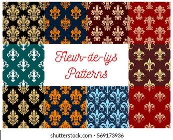 Fleur-de-lis seamless patterns of royal lily flower. Imperial floral fleur-de-lys pattern and ornate motif tracery tiles. Vector background of heraldic flourish ornament. Interior design backdrop