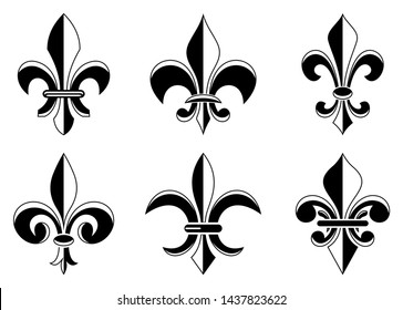 Fleur-de-lis symbol in different variations on a white isolated background. Set of Lily symbols in exact shape design useable for all Heraldic requirements.