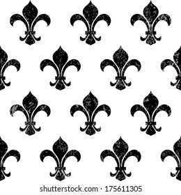 Fleur-de-lys background with shabby effect (that can be easily removed), vector illustration