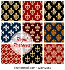 Fleur-de-lys seamless pattern background with french royal floral ornament of lily flower, adorned by victorian leaf scroll and flourishes. Vintage interior, wallpaper or french monarchy theme design