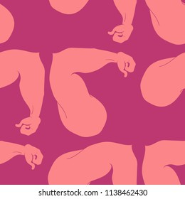 Flex arm bodybuilder with big muscles seamless pattern.