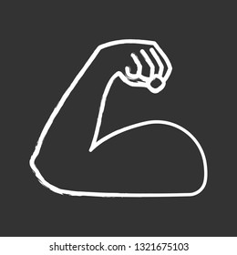 Flexed bicep chalk icon. Strong emoji. Muscle. Bodybuilding, workout. Man's arm, forearm. Isolated vector chalkboard illustration