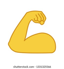 Flexed bicep color icon. Strong emoji. Muscle. Bodybuilding, workout. Man's arm, forearm. Isolated vector illustration