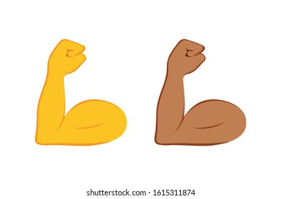Flexed bicep color icon. Strong emoji. Muscle. Bodybuilding, workout. Man's arm, forearm. Isolated vector illustration. Flexing bicep muscle strength or arm workout icon for exercise apps and websites
