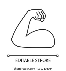 Flexed bicep linear icon. Thin line illustration. Strong emoji. Muscle. Bodybuilding, workout. Man's arm, forearm. Contour symbol. Vector isolated outline drawing. Editable stroke