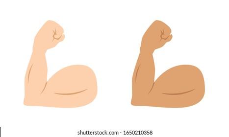 flexed biceps emoji, strong emoji muscle, vector illustration