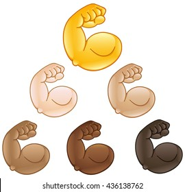 Flexed biceps hand emoji of various skin tones