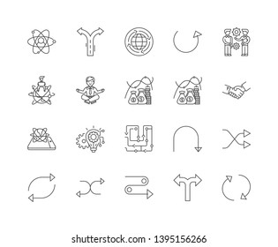 Flexibility line icon signs. Linear vector outline illustration set concept.