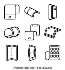 Flexible display icons set. Outline set of flexible display vector icons for web design isolated on white background