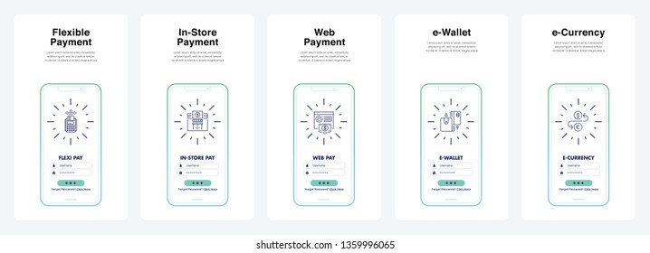 Flexible Payment, In-Store, Payment, Web Payment, Ewallet, Ecurrency, Modern Style. Can Use For Immediately for Promotions, Website, Commercial And Others. Vector.
