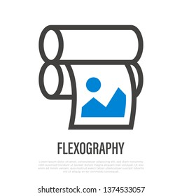 Flexography thin line icon. Typography equipment. Vector illustration.