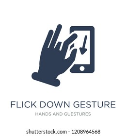 Flick Down gesture icon. Trendy flat vector Flick Down gesture icon on white background from Hands and guestures collection, vector illustration can be use for web and mobile, eps10