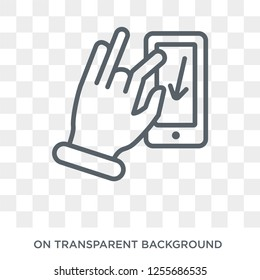 Flick Down gesture icon. Trendy flat vector Flick Down gesture icon on transparent background from Hands and guestures collection. High quality filled Flick Down gesture symbol use for web and mobile